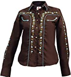 Modestone Women's Embroidered Long Sleeved Fitted Western Camisa Vaquera Floral S