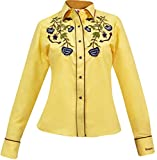 Modestone Women's Embroidered Long Sleeved Fitted Western Camisa Vaquera Floral XS