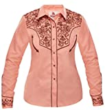 Modestone Women's Embroidered Fitted Western Camisa Vaquera Floral Pink S