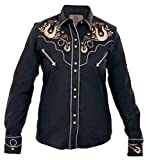 Modestone Women's Embroidered Fitted Western Camisa Vaquera Horseshoes Hearts Black L