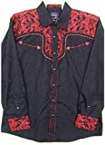 Modestone Men's Embroidered Fitted Western Camisa Vaquera Filigree Pattern Material Black M