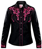 Modestone Women's Embroidered Long Sleeve Fitted Western Camisa Vaquera Floral Black