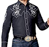 Modestone Men's Fitted Western Camisa Vaquera Dragon Western Filigree Embroidered Black