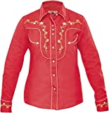 Modestone Women's Embroidered Fitted Western Camisa Vaquera Floral Red S