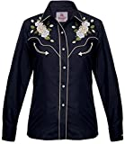 Modestone Women's Embroidered Long Sleeved Fitted Western Camisa Vaquera Floral Black XS