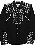Modestone Women's Long Sleeved Fitted Western Camisa Vaquera Floral Fabric Black