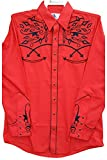 Modestone Men's Embroidered Long Sleeved Fitted Western Camisa Vaquera Filigree Red S