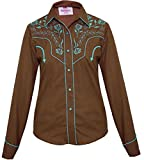 Modestone Women's Embroidered Long Sleeved Fitted Western Camisa Vaquera Floral Brown XS