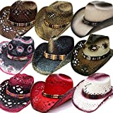 Modestone 24 Pcs Top Selling Combo Pack Straw Sombrero Vaqueros Assorted Sizes/Colors